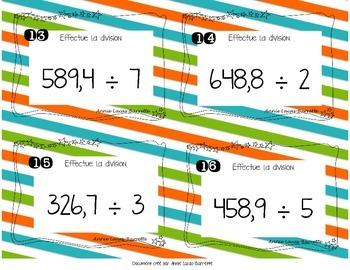 Cartes à tâches - Divisions de nombres décimaux - Task cards