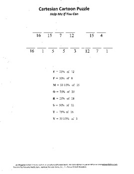 Cartesian Cartoon Puzzle,middle school graphing,percents,H