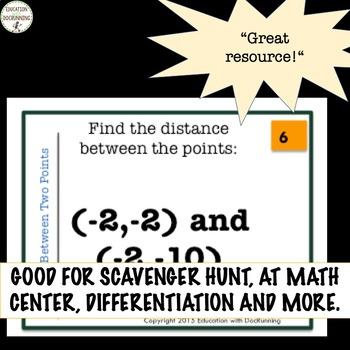 Cartesian Coordinates Distance between 2 points Task Card activity
