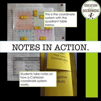 Cartesian Coordinates Interactive Notebook Notes and Practice Activity