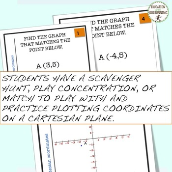 Cartesian Coordinates Task Cards for Activities and Centers  (CCSS.6.NS.C)