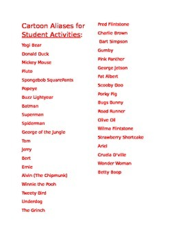 Cartoon Aliases for Student Activities