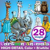 28 Cartoon Animals funny adaptations Clip art, Color + Bla