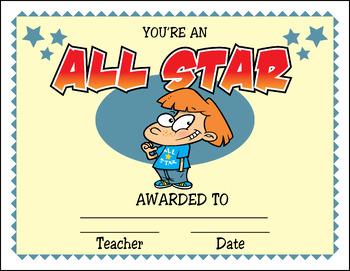 Cartoon Award Certificates
