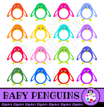Cartoon Baby Penguin Clip Art Set