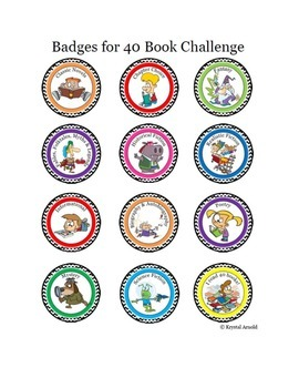 Cartoon Badges for Reading Challenge - Gamify your classroom