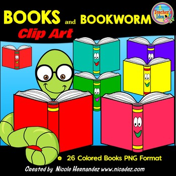 Cartoon Books with BONUS Bookworm Clip Art for Teachers