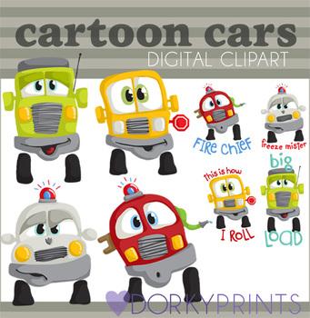 Cartoon Cars Digital Clip Art