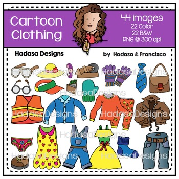 Cartoon Clothing Clip Art Set
