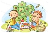 Cartoon Family Having Picnic Outdoors
