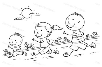 Cartoon Family Jogging Together