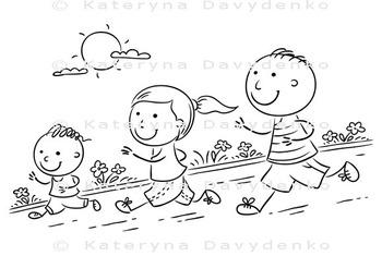 Cartoon Family Jogging Together