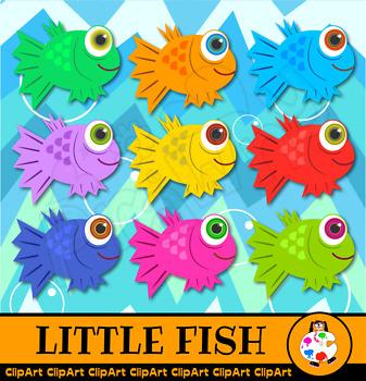 Cartoon Fish & Wavy Sea Clip Art Set