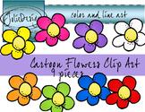 Cartoon Flowers Clip Art - Color and Line Art 9 pc set