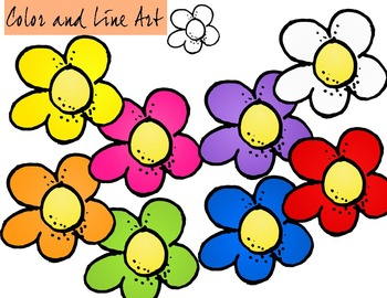 Cartoon Flowers Clip Art - Color and Line Art 9 pc set