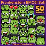 Cartoon Frankenstein Emoji Faces / Frankenstein Halloween Clipart