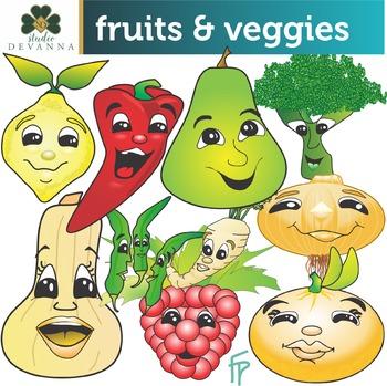 Cartoon Fruits And Vegetables Clip Art By Studio Devanna Tpt