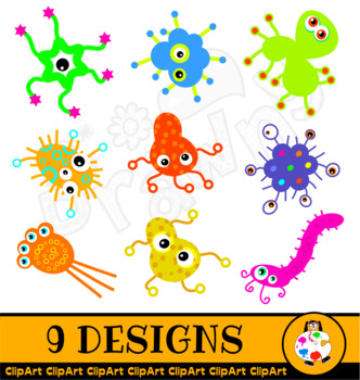 Cartoon Germ ClipArt Set