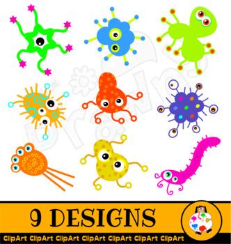 Cartoon Germ ClipArt Set