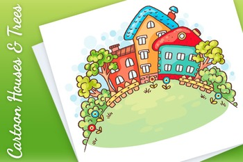 Cartoon Houses and Trees on a Hill with a Copy Space