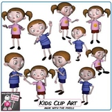 Cartoon Kids Clip Art - 10 Clipart Images Color and Black & White