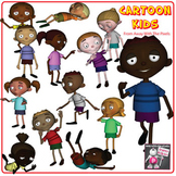 Cartoon Kids Clip Art (Multi Cultural) - 10 Clipart Images Color and Blackline