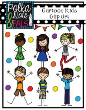 Cartoon Kids Clip Art (Polka Dots and Pals)