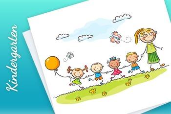 Cartoon Kids and their Teacher Outdoors