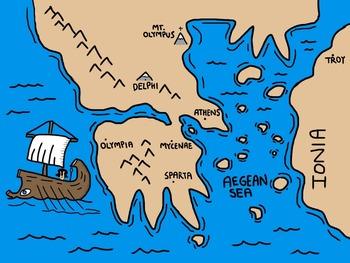 Cartoon Map Of Ancient Greece By I Before E Teachers Pay Teachers