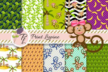 Cartoon Monkey in Jungles Pattern Set