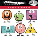 Geometry Shapes Math Clip Art Fun Cartoon Monster Set