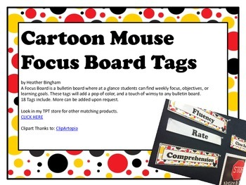 Cartoon Mouse Focus Board Tags