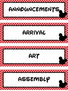 Cartoon Mouse Schedule Cards