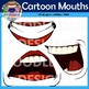 Cartoon Mouths Clip Art Bundle (Emotions, Happy, Angry, Laughing)