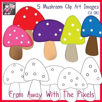 Cartoon Mushroom Clip Art Mini Pack - 5 Mushroom Clip Art Images