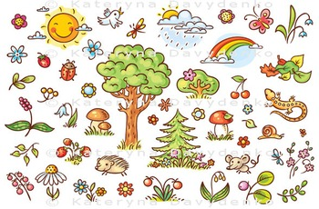 Cartoon Nature Set with Trees, Flowers, Berries and Small Forest Animals