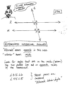 Cartoon Notes and Practice - Angles, Parallel Lines & Transversals