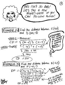 Cartoon Notes for Distance Formula relating to Pythagorean Theorem