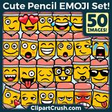Cartoon Pencil Emoji Clipart Faces / Pencil Writing Emojis