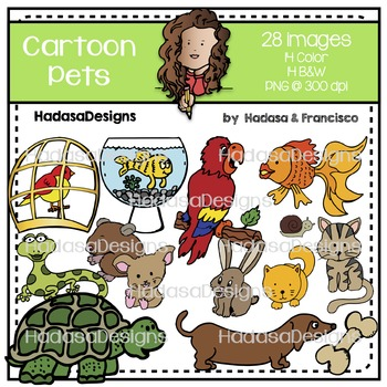 Cartoon Pets Clip Art Set