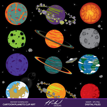 Cartoon Planets In Outer Space Digital Clip Art