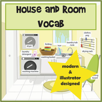Room and House Vocabulary Pictures / Flashcards and Posters