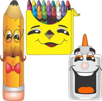 Cartoon School Supplies Clip Art - Back to School