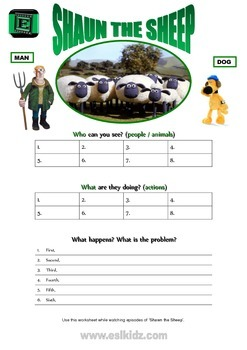 "Cartoon ""Shaun the Sheep"" Activity"