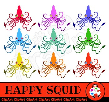 Cartoon Squid Octopus - Dollar Clip Art Set
