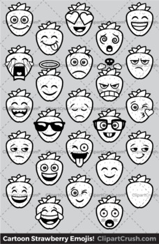 Cartoon Strawberry Emoji Clipart Faces / Strawberry Fruit Emojis Emotions