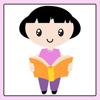 Cartoon Students - Female Child with Black Hair Clip Art Commercial Use