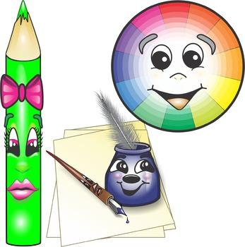 Cartoon Style Art Class Supplies Clip Art