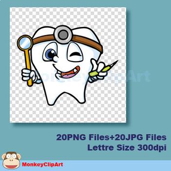 Cartoon Teeth Character clip art set