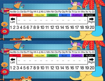 Cartoon Zoo Animals Desk Name Tag Plates Set